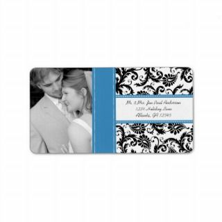 Your Photo Wedding Vintage Regatta Damask Address Label