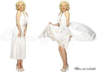 Kleid Damen MARILYN MONROE 50er Vintage Weiß & Perücke Star Fasching