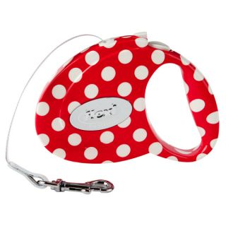 Flexi Fashion All Belt Retractable Red Polka Dot Print Leash   Dog   Boutique