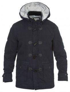 JACK & JONES Marvin Duffel Coat Parka Winter Jacke Mantel Kapuze blau