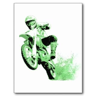Dirt Bike Wheeling in Mud (Green) Post Card