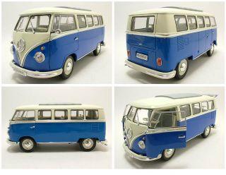 VW T1 Microbus 1962 creme/blau, Modellauto 118 / Welly