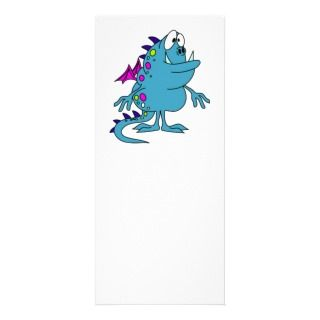 cute blue dragon monster creature full color rack card
