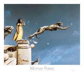 Gargoyles print fantasy art surreal poster 27.5x31.5 magic girl