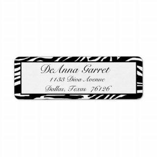 Address Labels Gone Wild (black zebra print)