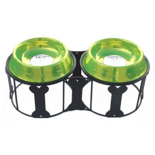 Platinum Pets Deluxe Bone Double Diner Stand With Stainless Steel Bowls   Lime