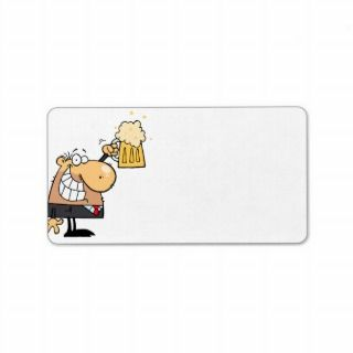 happy man cartoon celebrating with beer personalized address labels