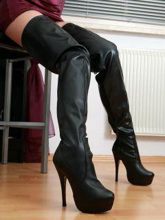 Overknee Stiefel Schuhe Damen High Heels 2461 Schwarz 40