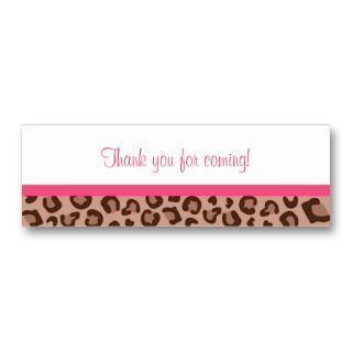 Leopard Print Jungle Baby Shower Favor Gift Tags Business Cards