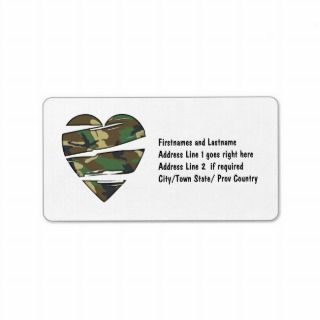 Shredded Camo Heart Personalized Address Label