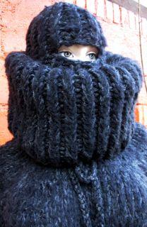 SUPER KID Mohair Langhaar Catsuit Overall Sweater L XL Fetisch schwarz