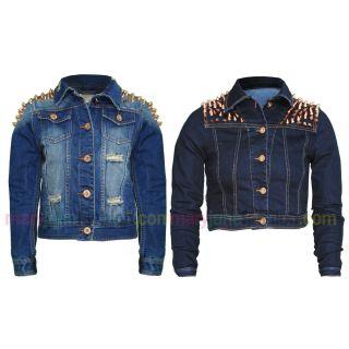 Jeans Jacke Ausgeblichen Bronze Nieten Schulter Denim 36   44