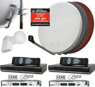 HDMI Digitale Sat Anlage 2 Teilnehmer Receiver Twin LNB 0 1dB Comag