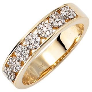 Ring Damenring mit 49 Diamanten Brillanten, 585 Gold Gelbgold