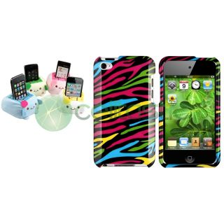 Colorful Zebra Case Cover Cartoon Plush Holder For iPod Touch 4 4th 4G