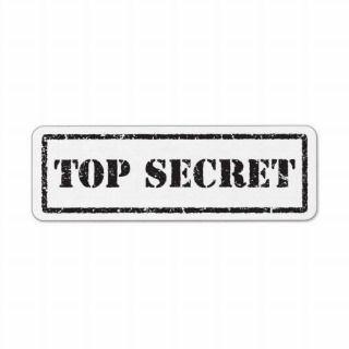 Top secret black distressed label