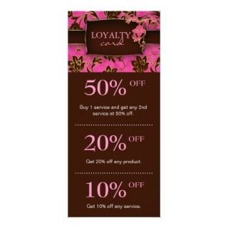 Salon Marketing Cards Pink Brown Floral Elegant Customized Rack Card
