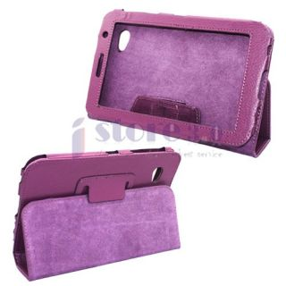 Purple Folio Leather Case Cover for Samsung Galaxy Tab 7.0 Plus P6200