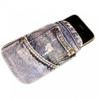 Handy Schutzhülle Jeans   iPhone Cover Skin Pouch Hülle