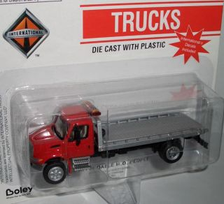 Boley INTERNATIONAL 2 AXLE FLATBED TOW TRUCK  red/silver  187 (H0) US