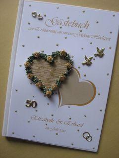 Gästebuch,  Goldene Hochzeit , Dekoration, Gold, Goldhochzeit