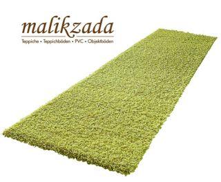 Hochflor Läufer   grün, 65 cm Breit, Design Teppich, Shaggy, Brücke