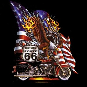 00916 American Route 66 Motorrad Biker Motiv T Shirt