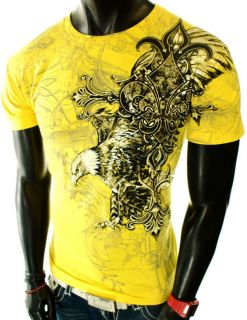NEW MENS YELLOW GRAPHIC UFC MMA CROSS EAGLE WINGS ANGEL ROYALTY CROWN