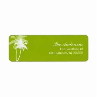 Palm Trees Tropical Beach Wedding Return Address Labels