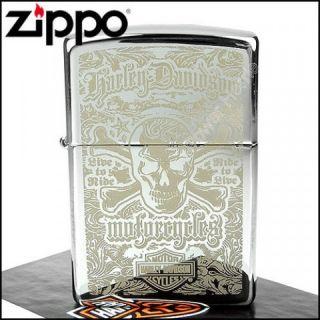 Zippo Feuerzeug, Harley Davidson Skull Live to Ride, NEU, OVP