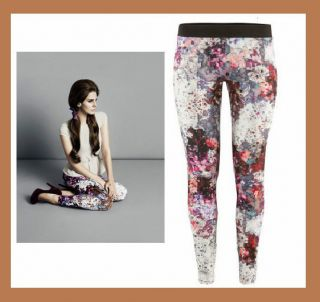 Lana del Rey Hose Leggings XS,S,M,L,Treggings Blumen Rot Leggins