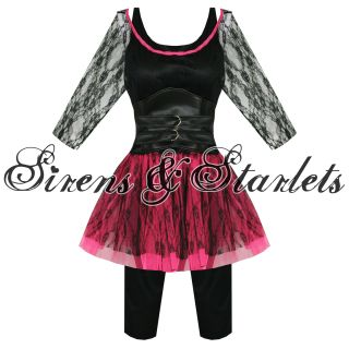 Kostüm Damen Neu 80er Rock Rocker Outfit Pop Star Sexy Mini Kleid