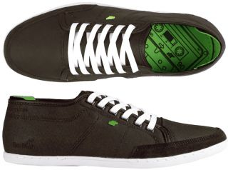 Boxfresh Schuhe Sparko waxed Canvas dark brown/lime green braun grün