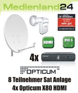 Teilnehmer Sat Anlage digital 4x Opticum X80 HDMI Octo LNB 80cm