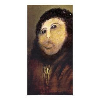 Funny Botched ecce homo painting meme Customized Photo Card
