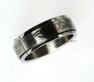 Edelstahl Designer Ring mit Tattoo Tribal Motiv Emo