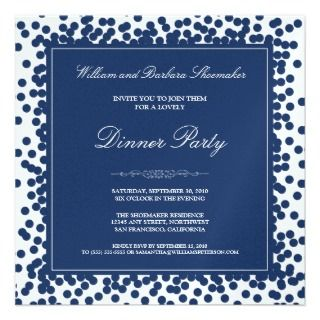 Navy Blue Confetti Dinner Party Invitation