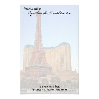 Eiffel Tower Las Vegas Personalized Stationery