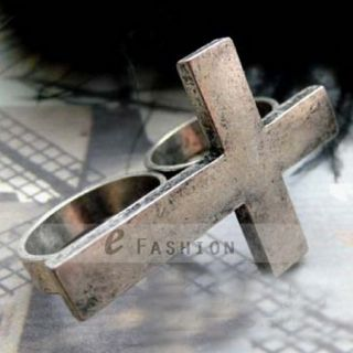 Kreuz Style Ringe Damen Herren doppel Fingerring NEU 102 0251