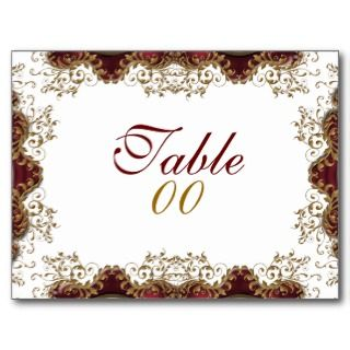 Vintage burgundy gold table number postcards