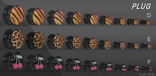 Plug Rockabilly Saddle BLACK Acryl mit Motiv Zebra Tiger Leopard