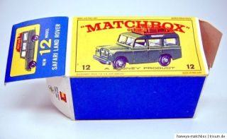Matchbox RW 12B Land Rover Safari leere originale frühe E2 Box