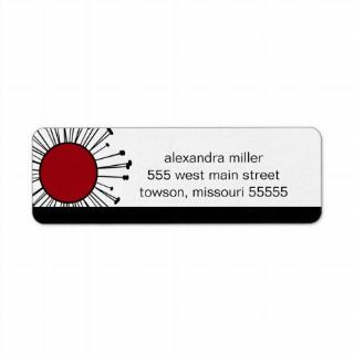Modern Black and Red Funky Custom Return Address Label
