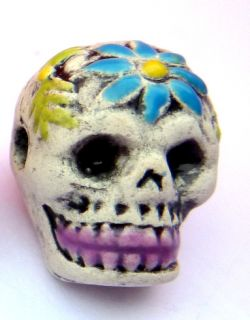 GORGEOUS HAND MADE CERAMIC SUGAR SKULL DAY OF THE DEAD FLOWER BEAD