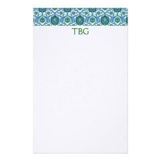 Monogrammed Vintage Wallpaper Border Stationery