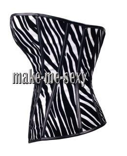 White & Black CORSET Faux Leather Bustier Goth Zebra XL A113_white