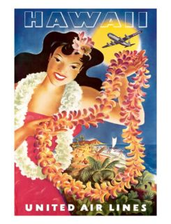 Hawaii, United Air Lines, Hawaiian Girl with Leis, c.1949 Giclee Print by Feher
