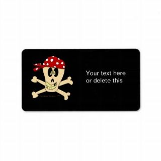 Smiling Pirate Skull and Cross Bones Address Label