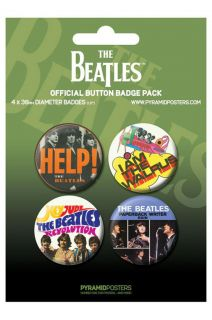 The Beatles Buttons button badges Anstecker 4er Set *rare*NEU*