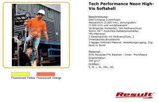 Result Tech Performance Neon High Vis Softshell S 3XL